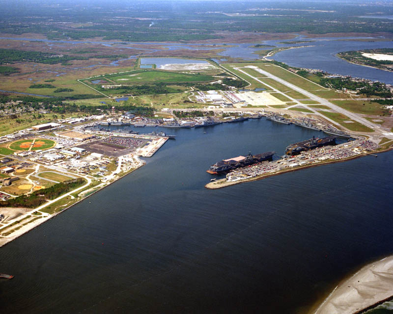aerial ns mayport with cv 60 and cv 64 1993 16 U.S. Air Force Bases and Naval Stations From Above