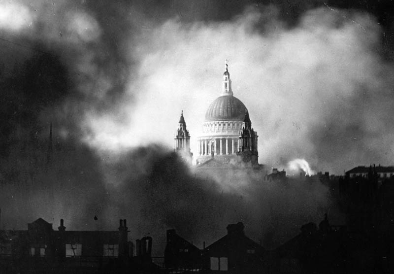 dome of st pauls cathedral surrounded by smoke and flames german luftwaffe bombinb ww2 This Day In History   September 7th