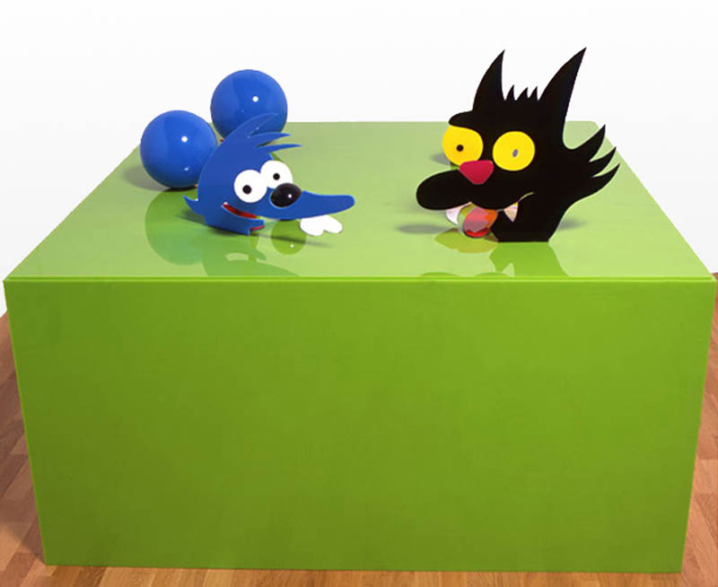 itchy and scratchy perspective sculptures james hopkins 2 Awesome Cartoon Perspective Sculptures by James Hopkins