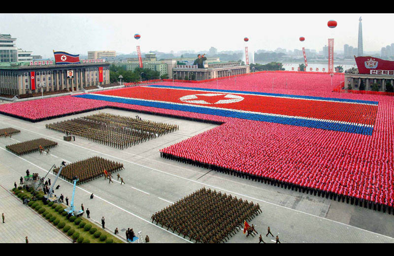 north korean military parade 2011 dprk troops make giant flag Picture of the Day: Massive Military Parade in North Korea
