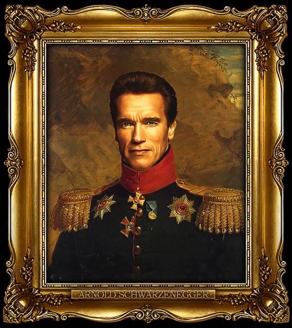 arnold schwarzenegger as russian general portrait 15 Celebrity Portraits Painted Like Russian Generals