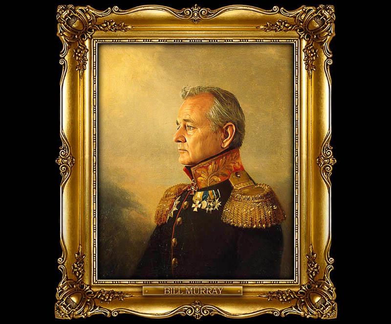 bill murray as russian general portrait 15 Celebrity Portraits Painted Like Russian Generals