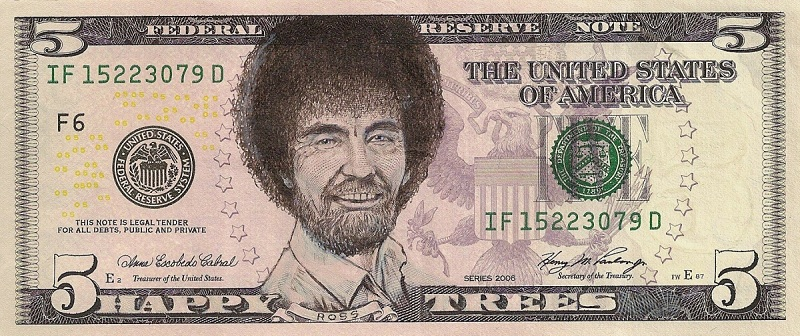 bob ross dollar bill currency cash art This Artist Transforms US Banknotes Into Hilarious Portraits