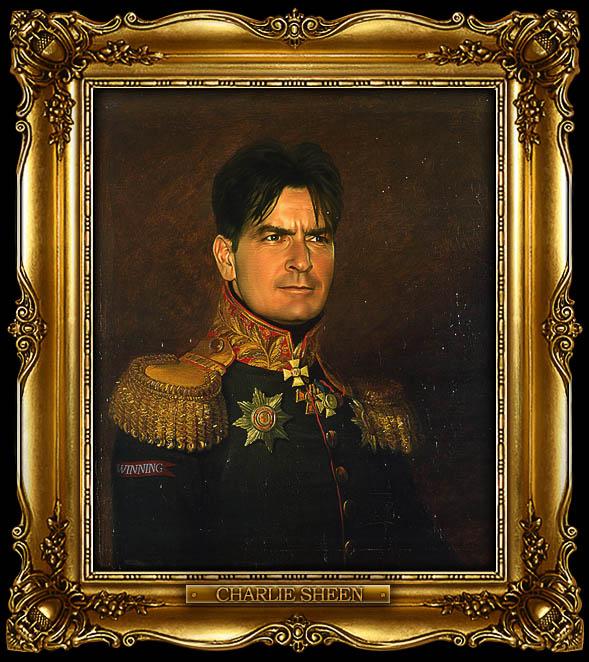 charlie sheen as russian general portrait 15 Celebrity Portraits Painted Like Russian Generals