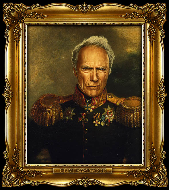 clint eastwood as russian general portrait 15 Celebrity Portraits Painted Like Russian Generals