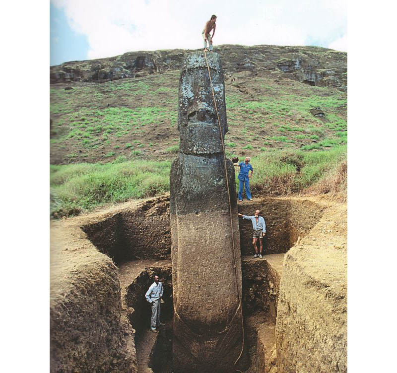 easter island statue moai unearthed dug out uncovered deeply buried Picture of the Day: Uncovering History