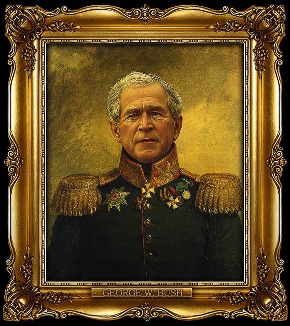 george bush as russian general portrait 15 Celebrity Portraits Painted Like Russian Generals