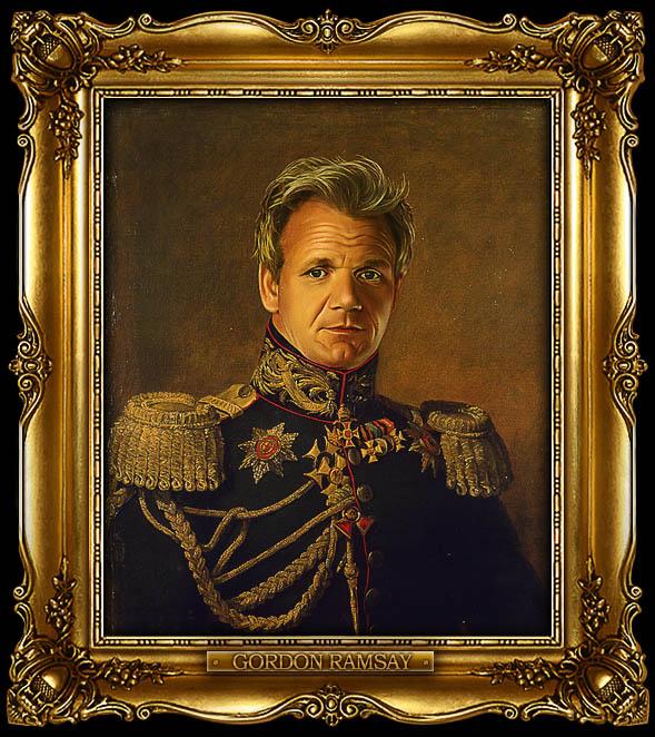 gordon ramsay as russian general portrait 15 Celebrity Portraits Painted Like Russian Generals