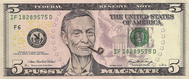 hugh heffner dollar bill currency cash art This Artist Transforms US Banknotes Into Hilarious Portraits