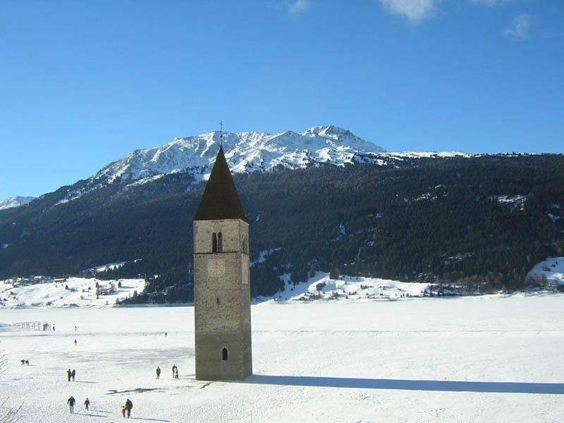 lake reschen clock tower under water Picture of the Day: The Submerged Clock Tower of Lake Reschen