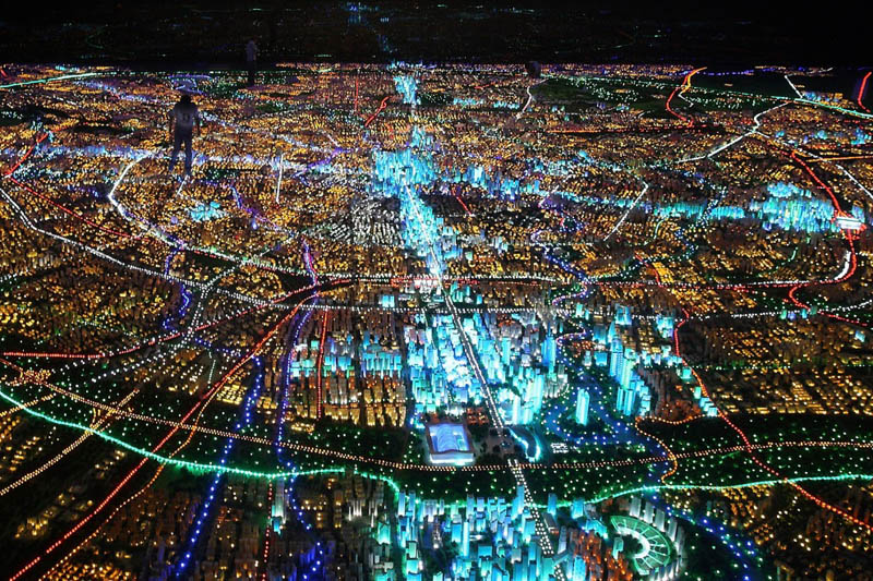 large scale model of chendu city at night Picture of the Day: Bright Lights, Big City
