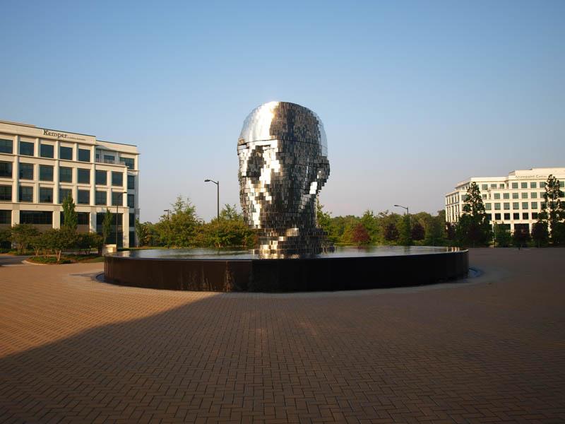 metalmorphosis david cerny stainless steel head sculpture north carolina 18 Metalmorphosis: Incredible Moving Sculpture by David Cerny