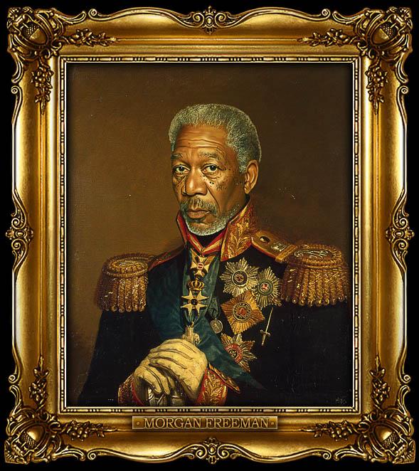 morgan freeman as russian general portrait 15 Celebrity Portraits Painted Like Russian Generals