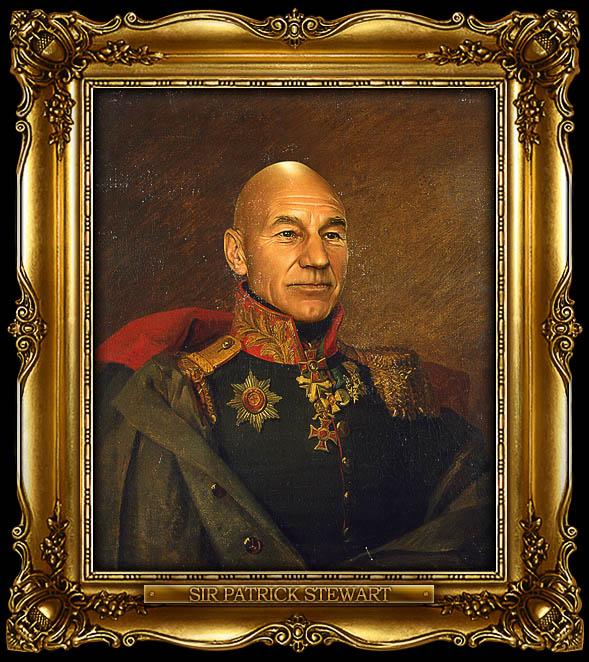 patrick stewart as russian general portrait 15 Celebrity Portraits Painted Like Russian Generals