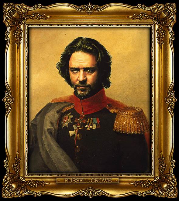 russell crowe as russian general portrait 15 Celebrity Portraits Painted Like Russian Generals