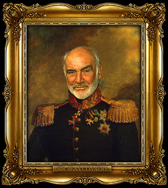 sean connery as russian general portrait 15 Celebrity Portraits Painted Like Russian Generals