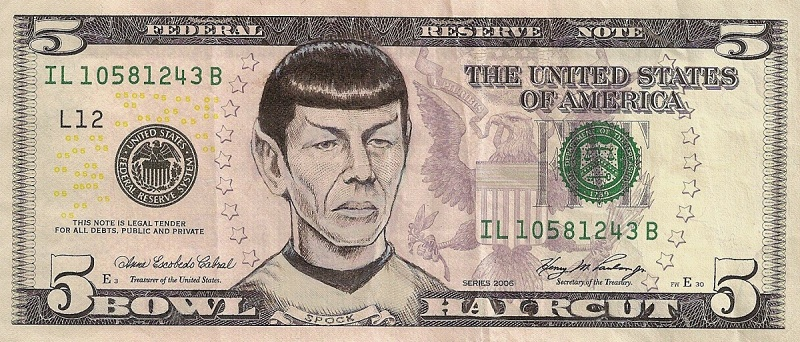 spock dollar bill currency cash art This Artist Transforms US Banknotes Into Hilarious Portraits