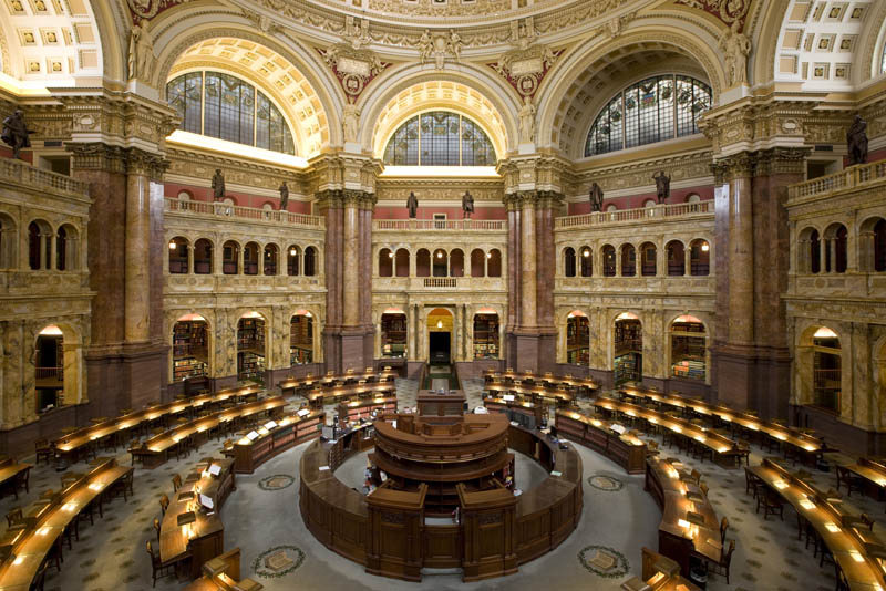 united states library of congress main reading room 15 Beautiful Libraries Around the World
