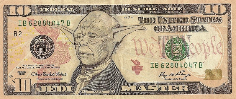 yoda dollar bill currency cash art This Artist Transforms US Banknotes Into Hilarious Portraits