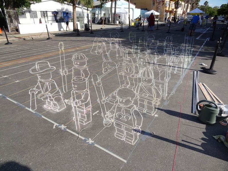 3d sidewalk chalk art lego terracotta warriors army 7 3D Sidewalk Art: Lego Terracotta Warriors