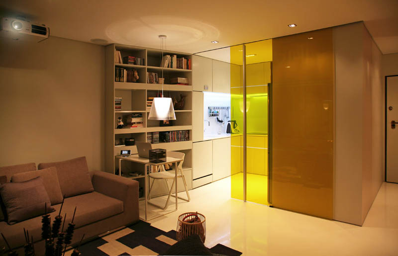 closet house by consexto modular apartment 2 Elevator Bed Rises to Reveal Sunken Living Room