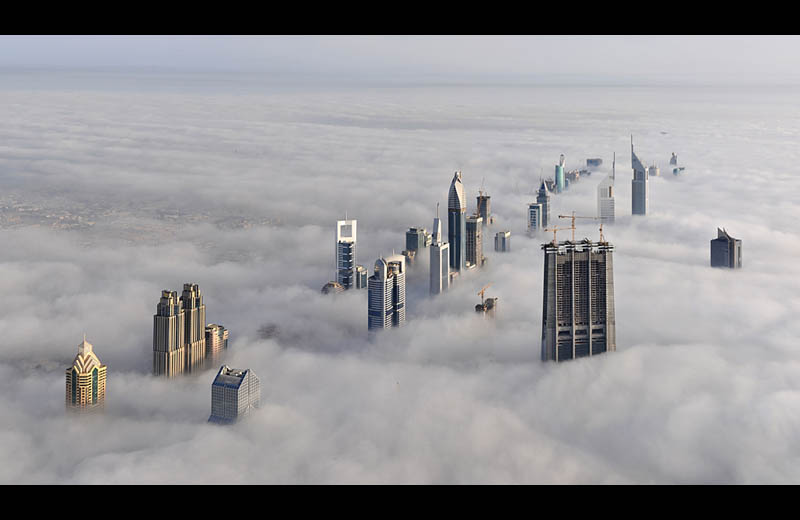 dubai cloud city sheikh zayed road from burj dubai The Top 50 Pictures of the Day for 2011