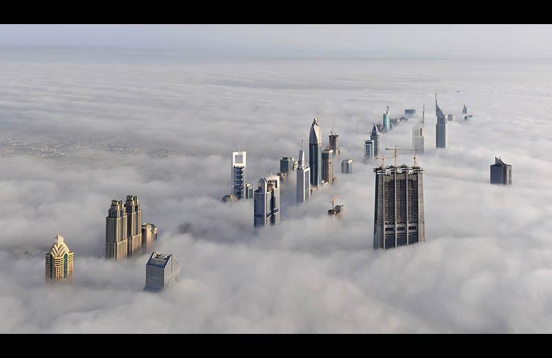 dubai cloud city sheikh zayed road from burj dubai Picture of the Day: Cloud City Dubai