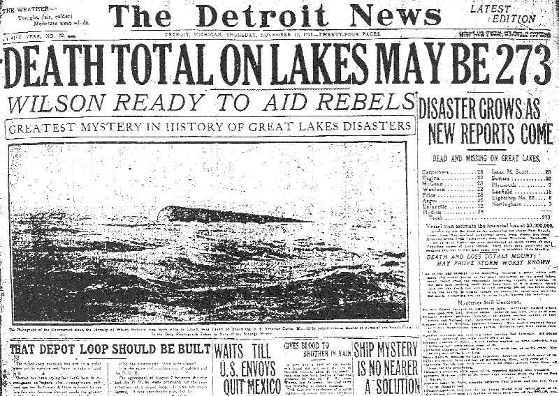 great lakes storm of 1913 newspaper heading This Day In History   November 9th