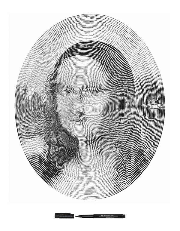 mona lisa made from single outward spiral pen stroke 1 Incredible Portraits Made From A Single Pen Stroke