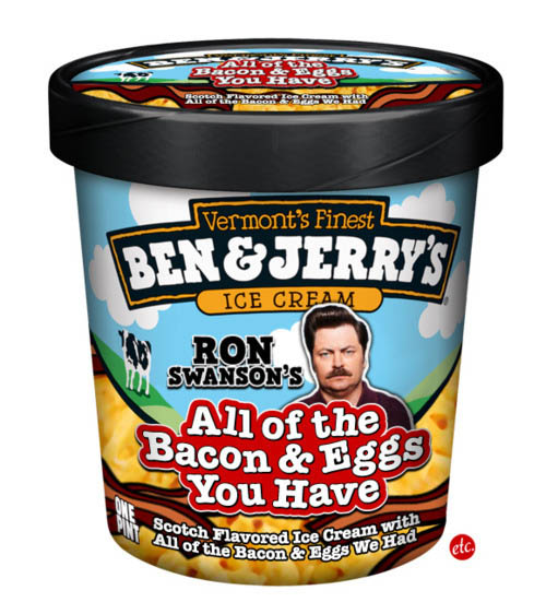 ron swanson bacon and eggs funny ben and jerrys ice cream labels flavors 10 Funny Ben & Jerrys Pop Culture Ice Cream Flavors