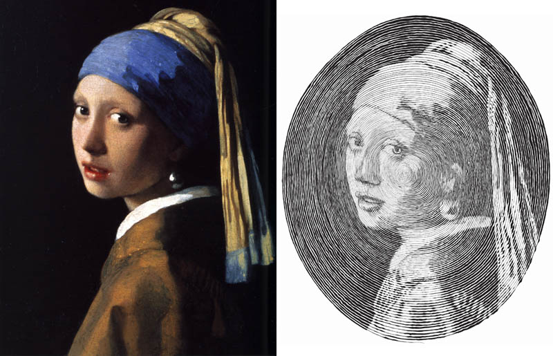 vermeer girl with pearl earring made from one line 1 Incredible Portraits Made From A Single Pen Stroke