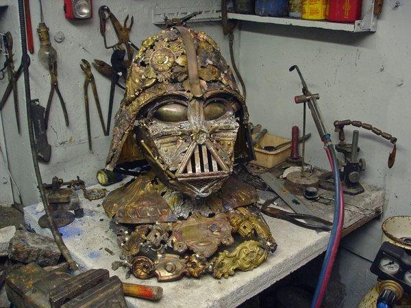 darth vader made from scrap junk bellino alain 1 Darth Vader Mask Made from Scrap Metal
