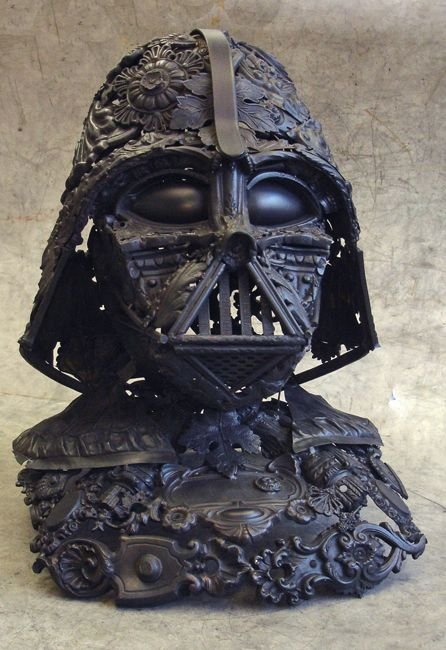 darth vader made from scrap junk bellino alain 3 Darth Vader Mask Made from Scrap Metal