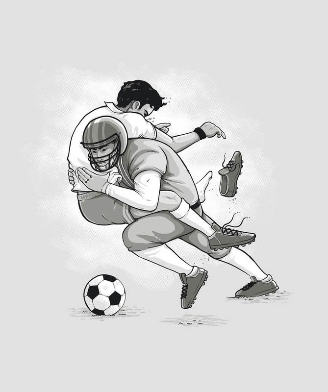 football tackling soccer 25 Fun Illustrations by Nacho Diaz