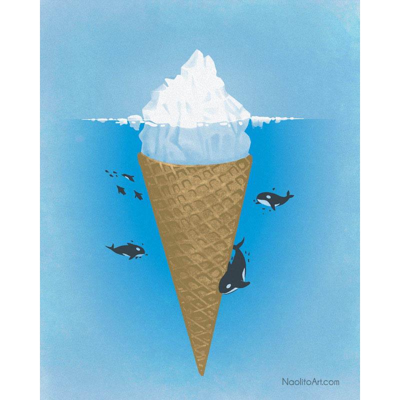 nacho diaz illustration iceberg ice cream cone 25 Fun Illustrations by Nacho Diaz