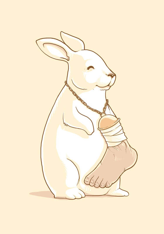 rabbit with lucky human foot 25 Fun Illustrations by Nacho Diaz