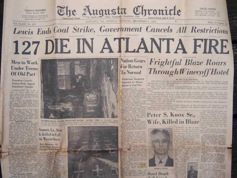 winecoff hotel fire newspaper headline This Day In History   December 7th