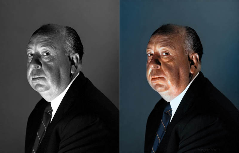alfred hitchcock portrait colorized 15 Famous Photos in History Colorized