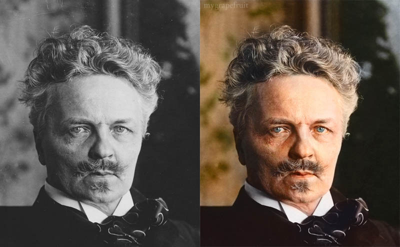 august strindberg portrait colorized 15 Famous Photos in History Colorized