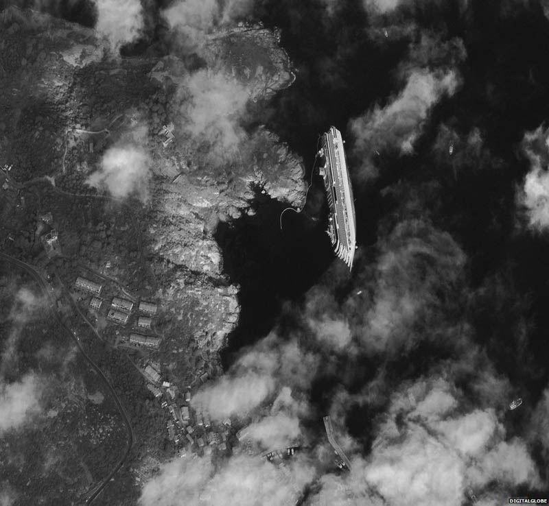 capsized cruise ship costa concordia from space Picture of the Day: Capsized Cruise Ship Costa Concordia from Space