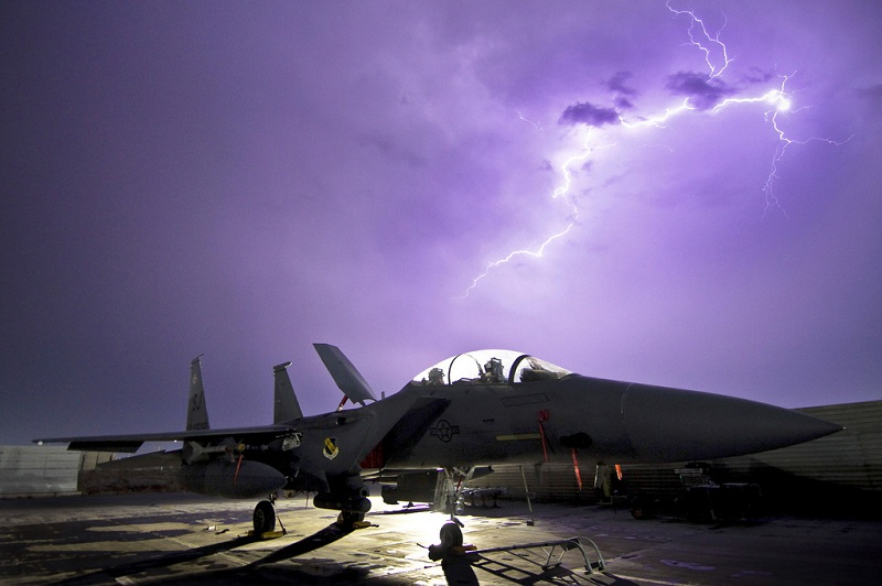 f 15e strike eagle fighter aircraft is illuminated by a lightning storm 25 Incredible Photographs by the U.S. Air Force