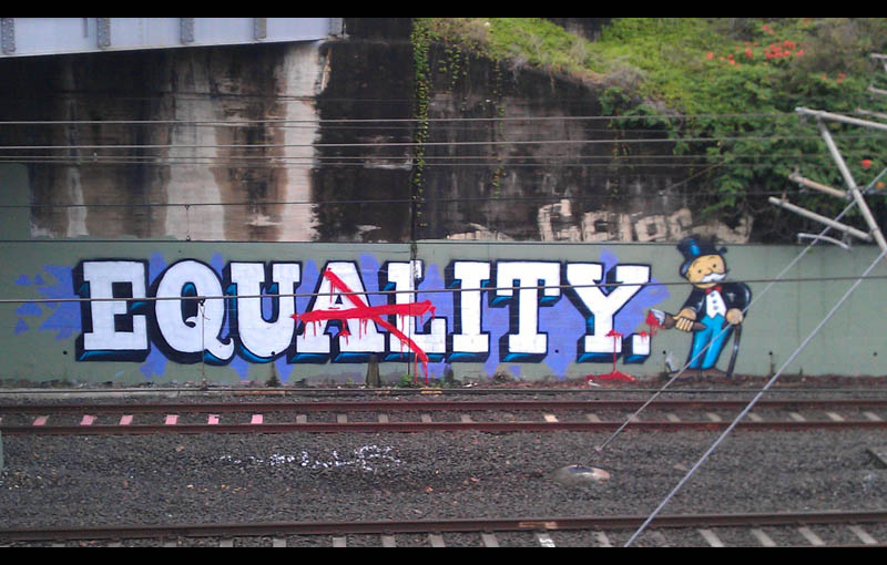 graffiti 1 percent 99 percent equality equity brisbane Picture of the Day: Graffiti by the 1%