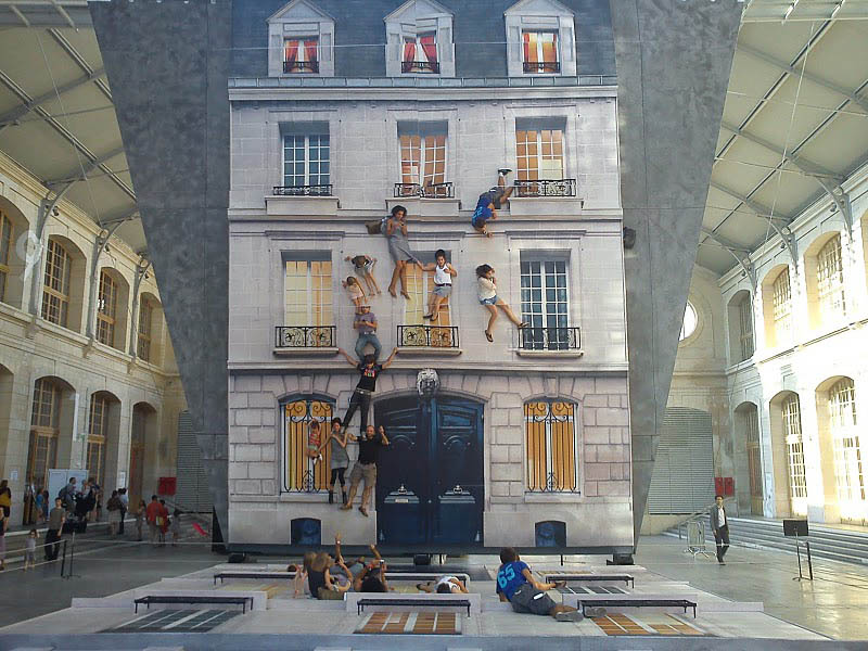 mirrored building art installation interactive france leandro erlich 4 Interactive Art Installation Turns People into Daredevils