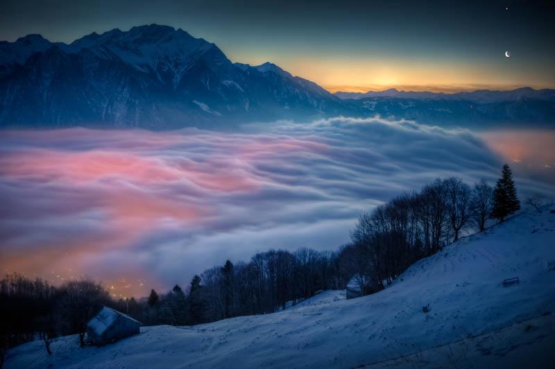 moon and venus over switzerland david kaplan Picture of the Day: Moon and Venus Over Switzerland