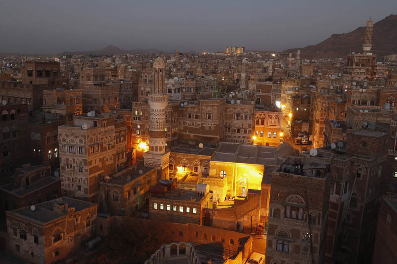 sanaa yemen from above at night aerial Picture of the Day: The Old City of Sanaa at Night