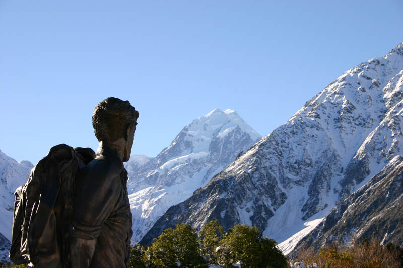 sir edmund hillary statue and mount cook This Day In History   January 11th