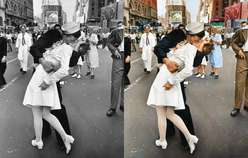 times square kiss sailor dip colorized 15 Famous Photos in History Colorized