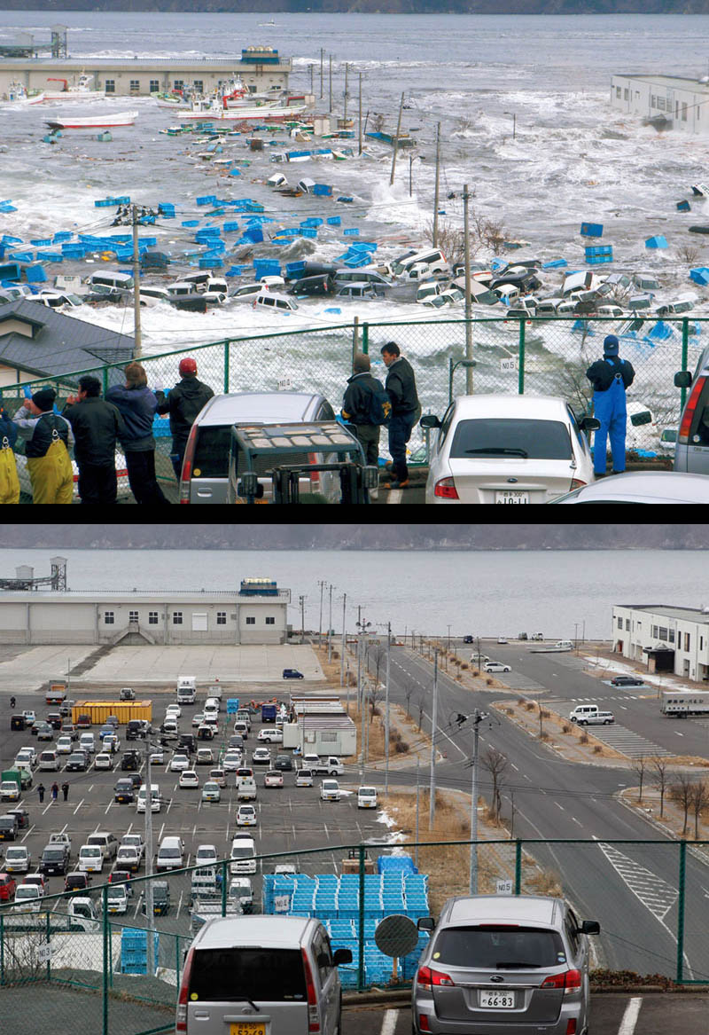 before after cleanup japan earthquake tsunami one year later 1 Picture of the Day: Hard Work Pays Off