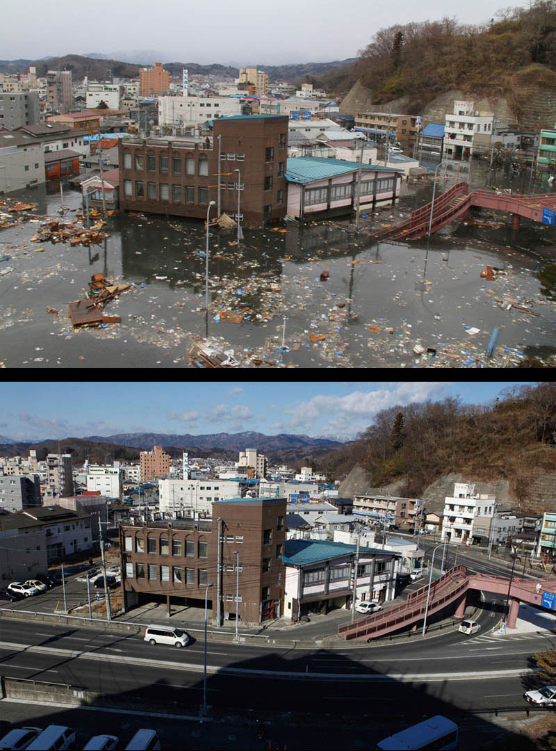 before after cleanup japan earthquake tsunami one year later 2 Picture of the Day: Hard Work Pays Off