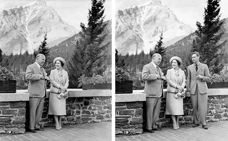 canadian prime minister removes king george vi from photo with queen for political poster 1939 12 Historic Photographs That Were Manipulated